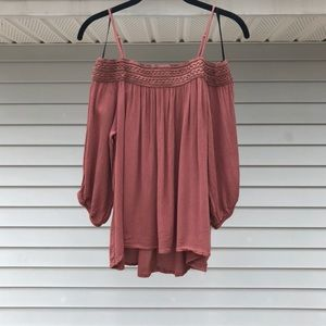 Pink Rust Top w/ Off The Shoulder Sleeves